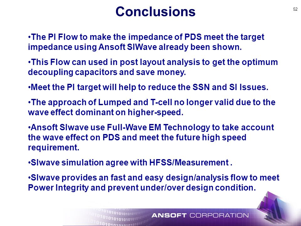 Conclusions The PI Flow to make the impedance of PDS meet the target impedance using Ansoft SIWave already been shown.