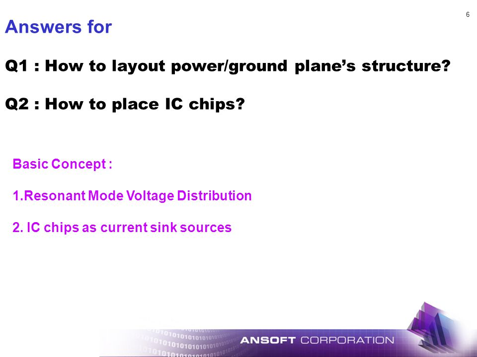 Answers for Q1 : How to layout power/ground plane's structure