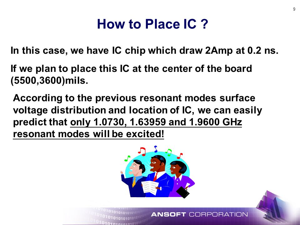 How to Place IC In this case, we have IC chip which draw 2Amp at 0.2 ns. If we plan to place this IC at the center of the board (5500,3600)mils.