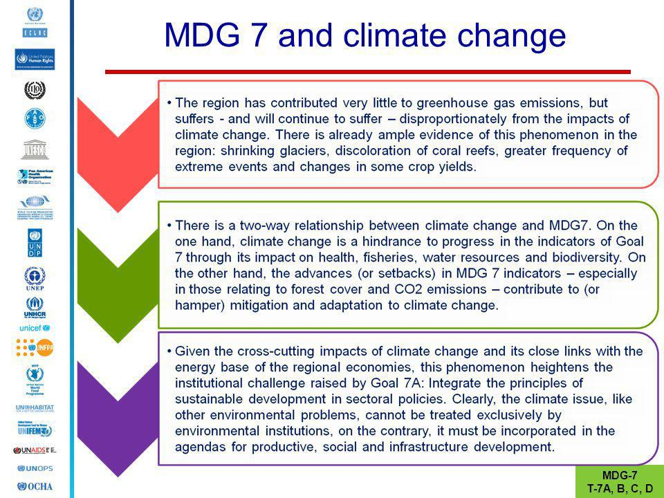 MDG 7 and climate change MDG-7 T-7A, B, C, D