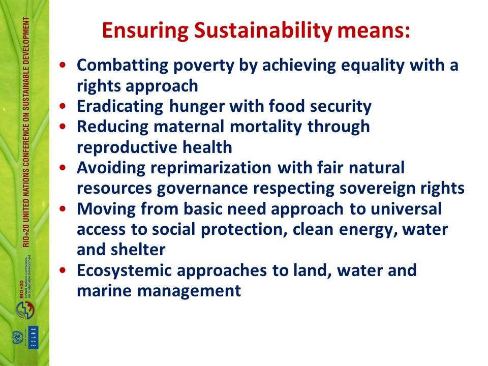 Ensuring Sustainability means: