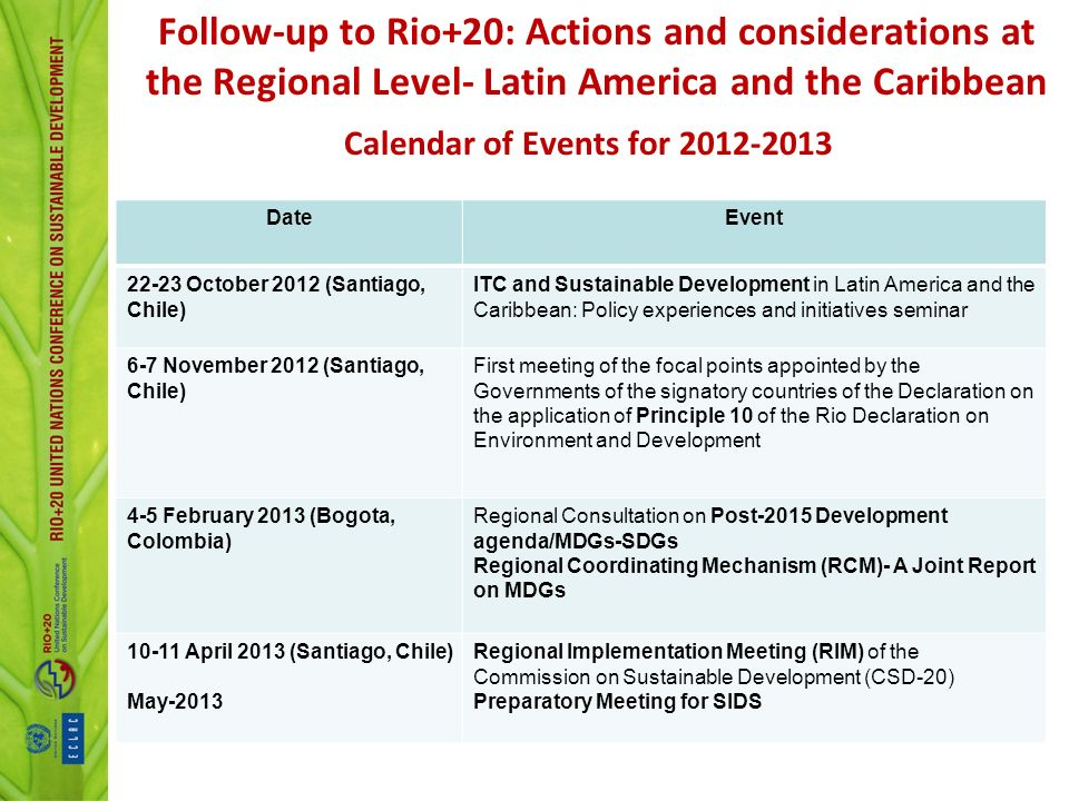 Calendar of Events for