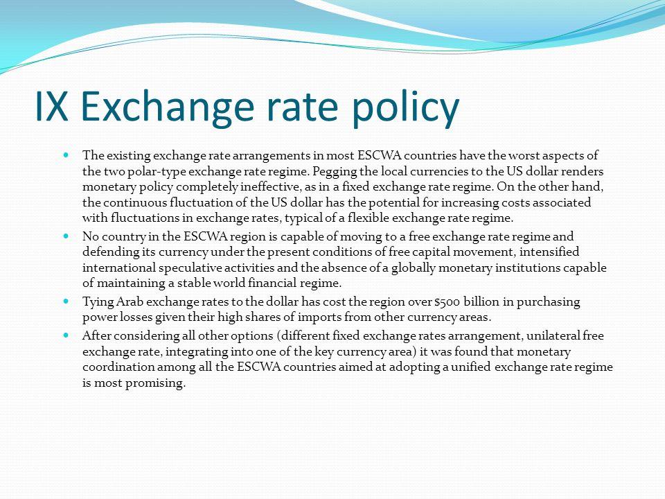 IX Exchange rate policy