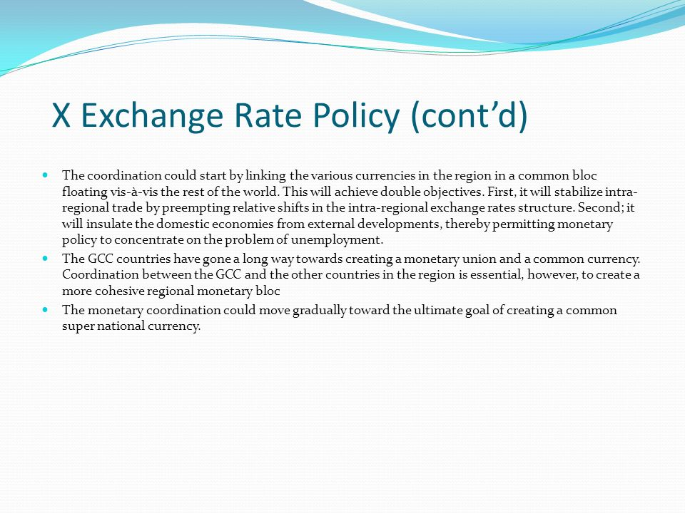 X Exchange Rate Policy (cont'd)