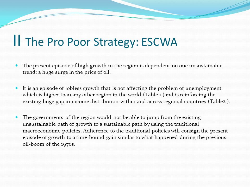 II The Pro Poor Strategy: ESCWA