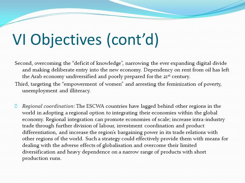 VI Objectives (cont'd)