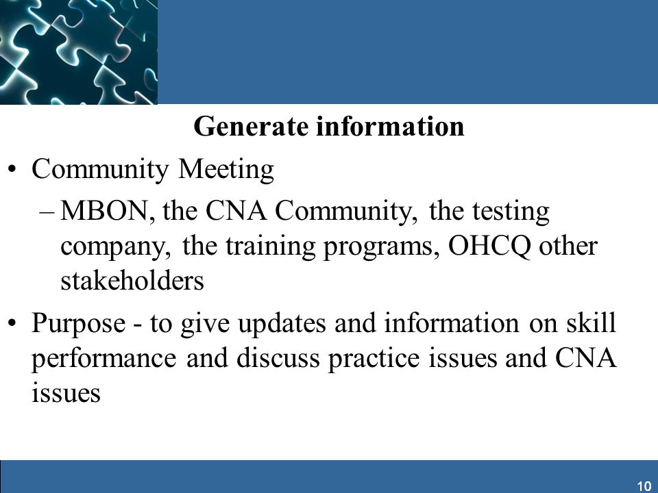 Generate information Community Meeting