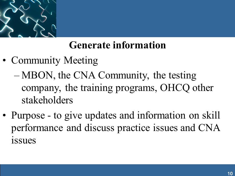 Generate information Community Meeting
