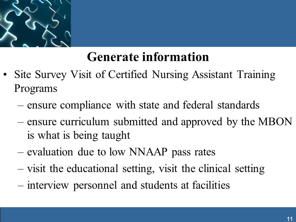 Generate information Site Survey Visit of Certified Nursing Assistant Training Programs. ensure compliance with state and federal standards.