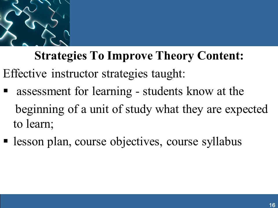 Strategies To Improve Theory Content: