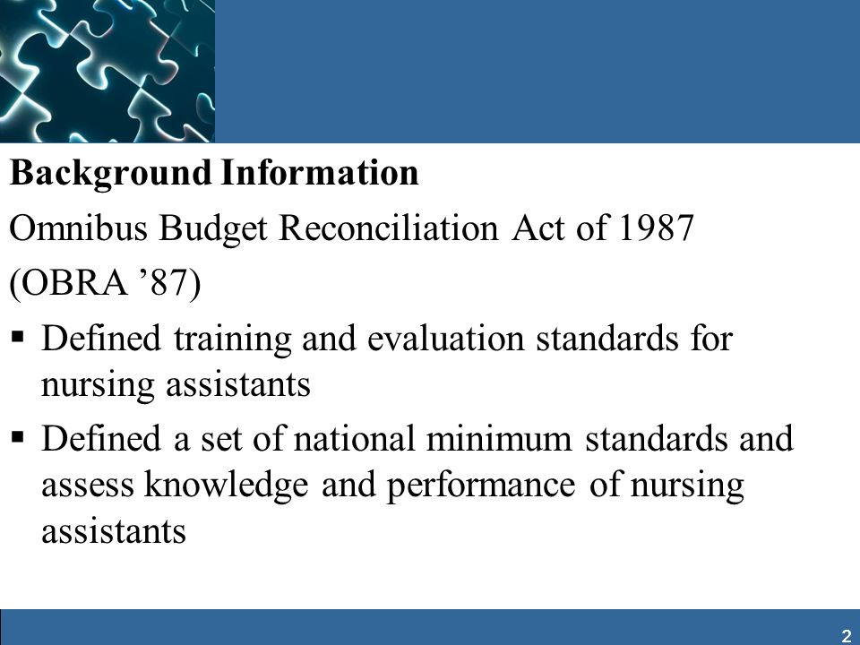 Background Information Omnibus Budget Reconciliation Act of 1987