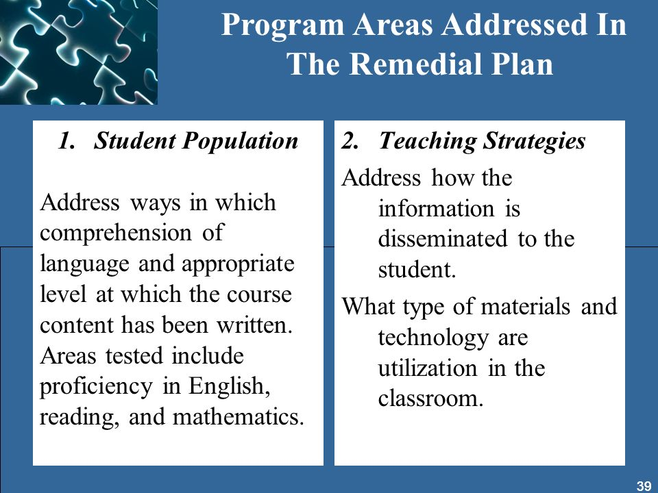 Program Areas Addressed In The Remedial Plan