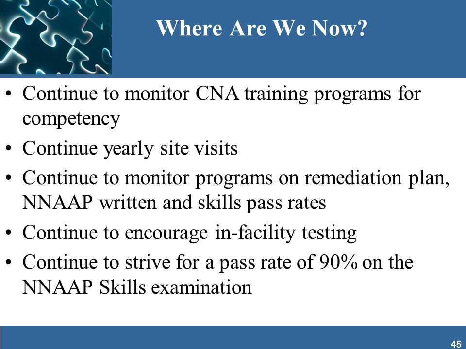 Where Are We Now Continue to monitor CNA training programs for competency. Continue yearly site visits.