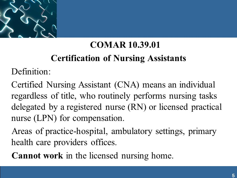 Certification of Nursing Assistants