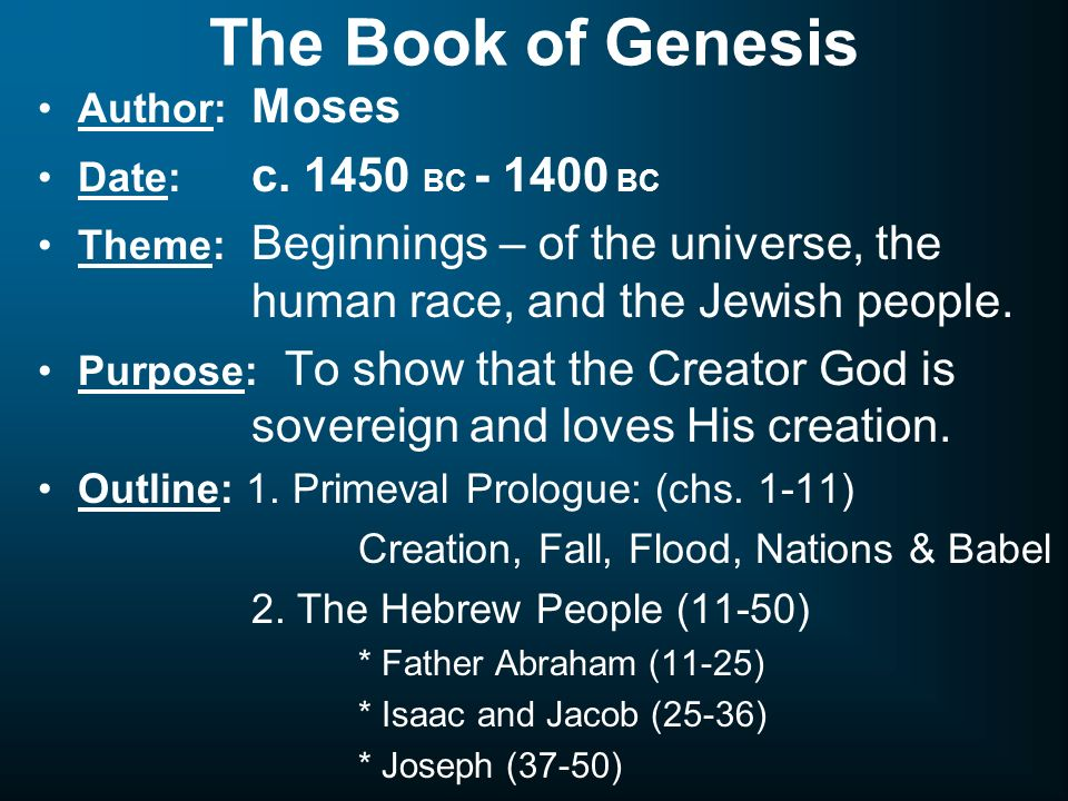 genesis 1 1 11 the primeval history Lesson 1 gives an overview of the primeval history, the literary structure, original meaning and modern application of genesis 1-11.