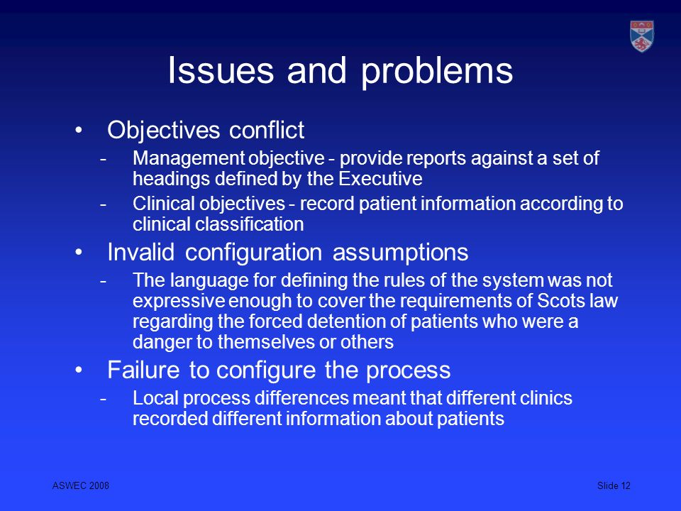 Issues and problems Objectives conflict