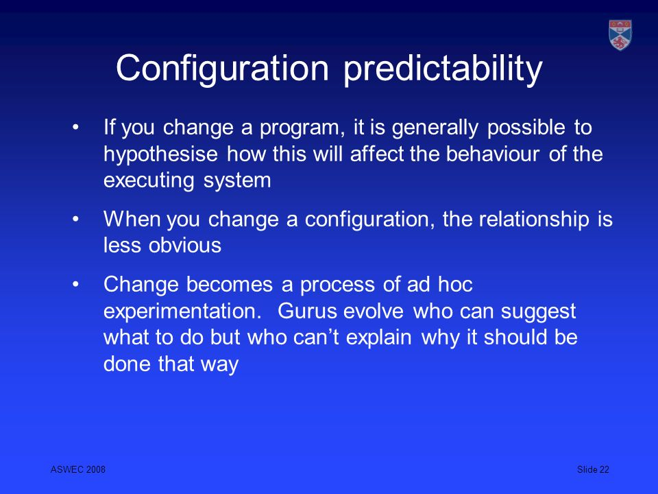 Configuration predictability