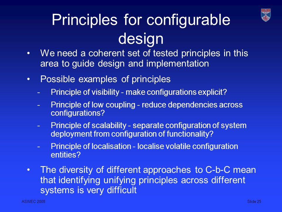 Principles for configurable design