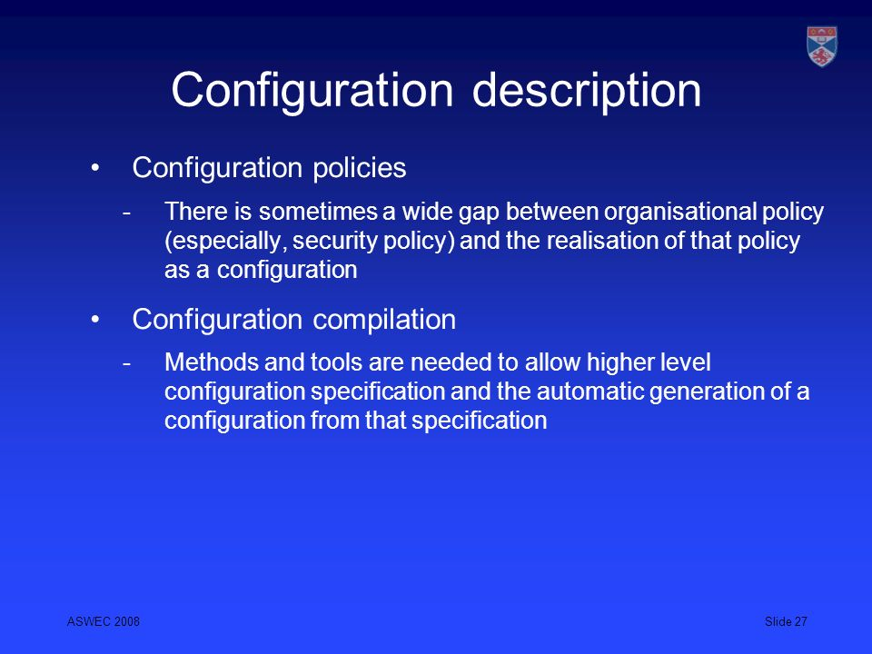 Configuration description