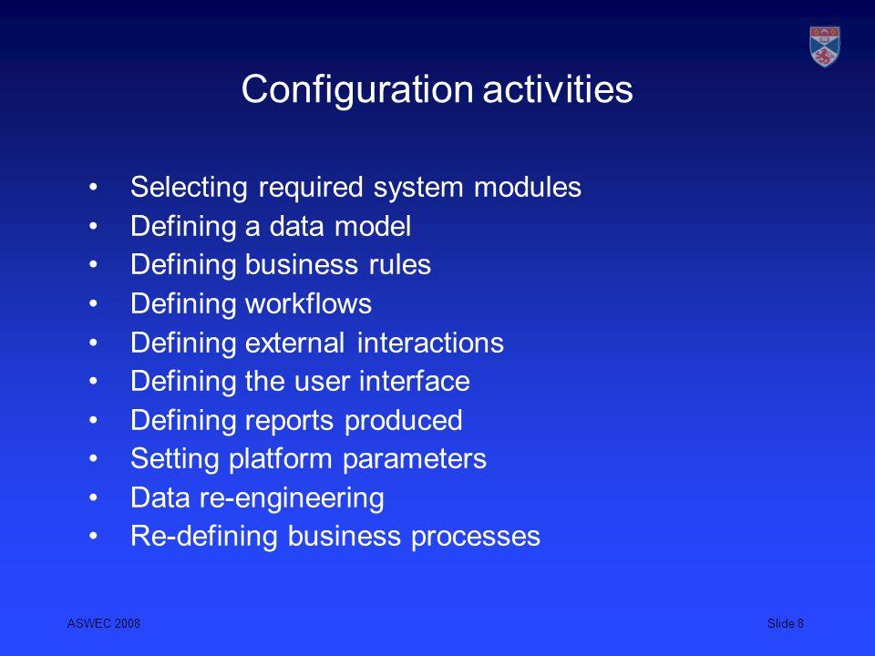 Configuration activities