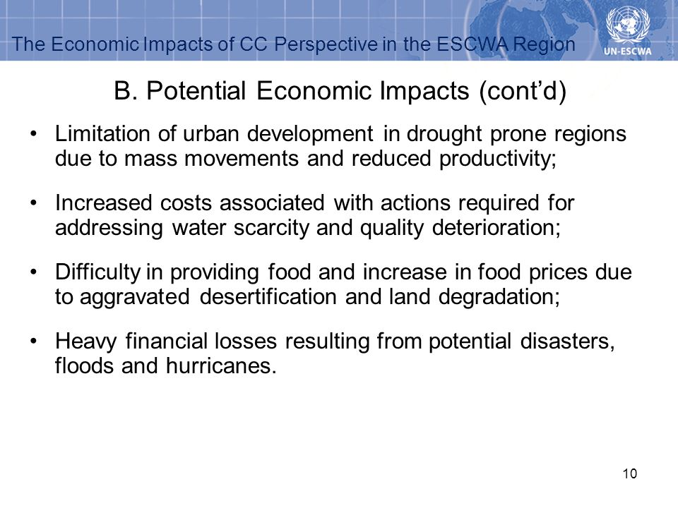 B. Potential Economic Impacts (cont'd)