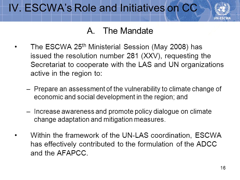IV. ESCWA's Role and Initiatives on CC