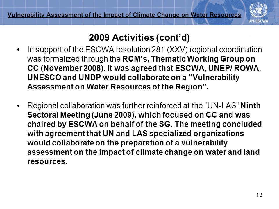 Vulnerability Assessment of the Impact of Climate Change on Water Resources