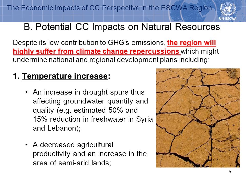 The Economic Impacts of CC Perspective in the ESCWA Region