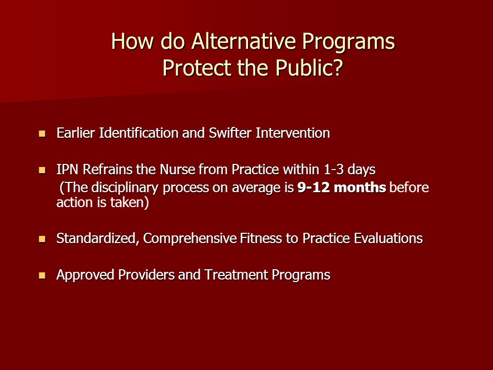 How do Alternative Programs Protect the Public