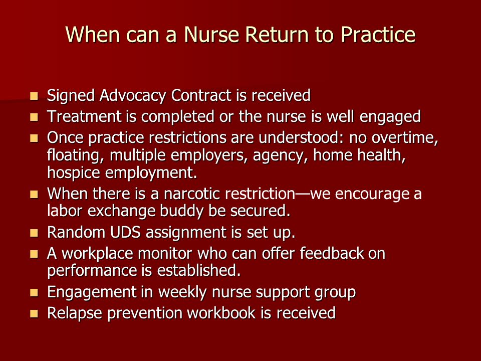When can a Nurse Return to Practice