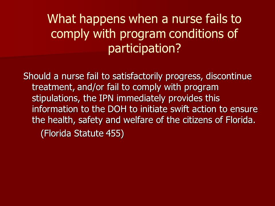 What happens when a nurse fails to comply with program conditions of participation