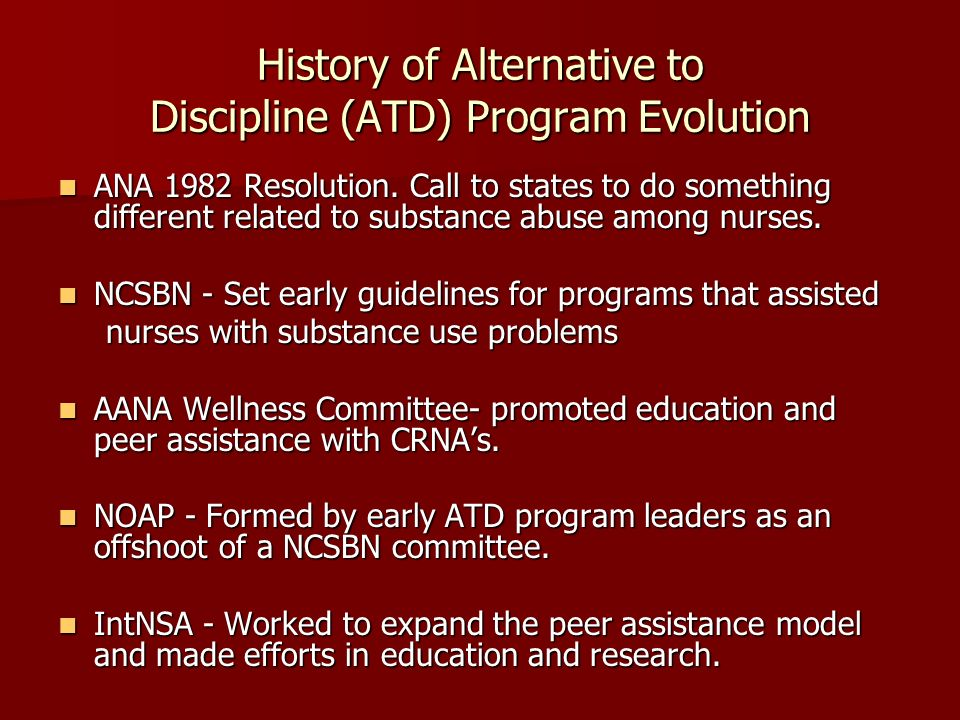 History of Alternative to Discipline (ATD) Program Evolution