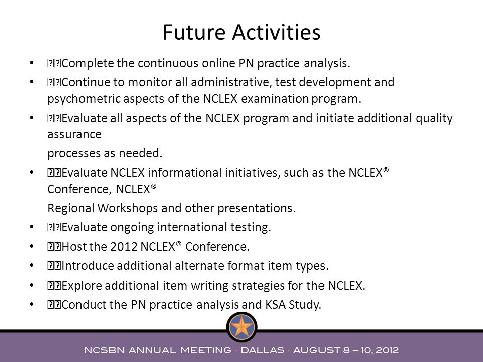 "Future Activities """"Complete the continuous online PN practice analysis."