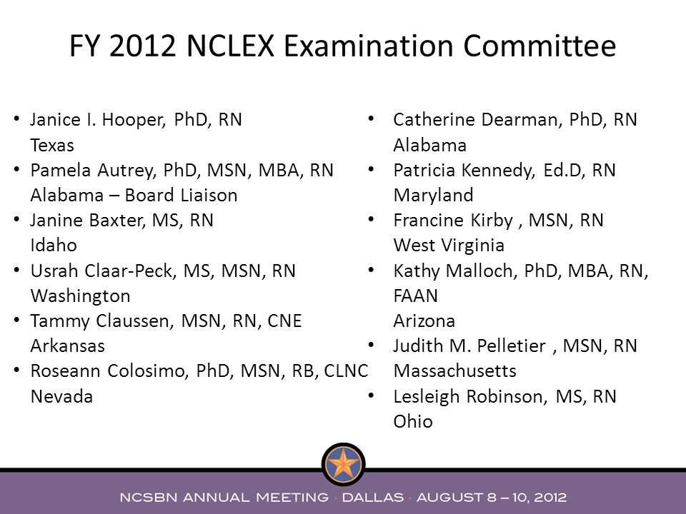 FY 2012 NCLEX Examination Committee