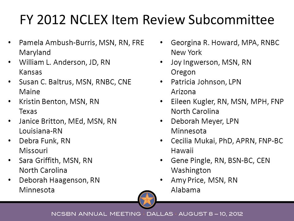 FY 2012 NCLEX Item Review Subcommittee