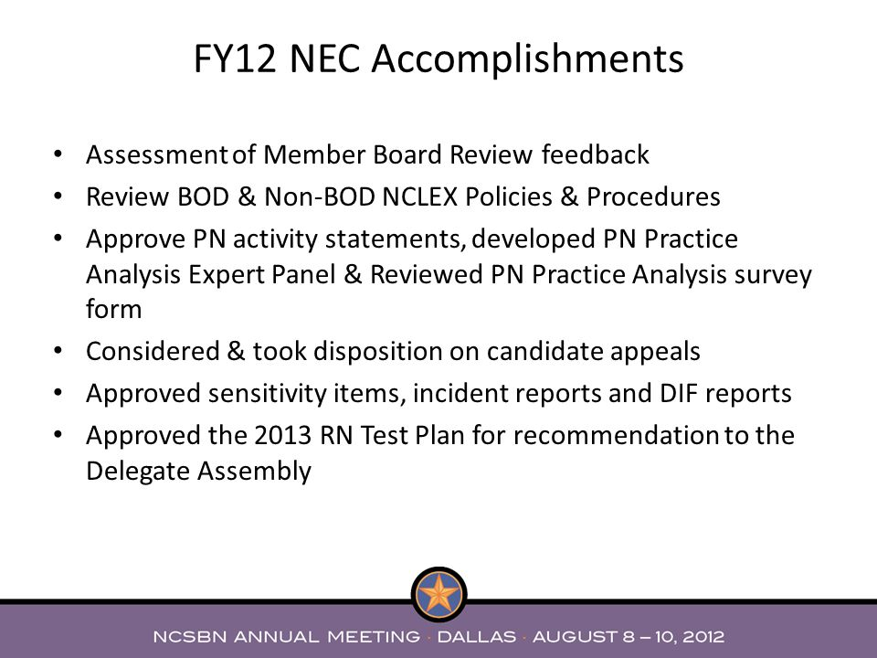 FY12 NEC Accomplishments
