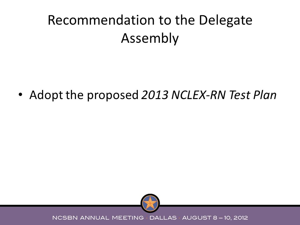 Recommendation to the Delegate Assembly