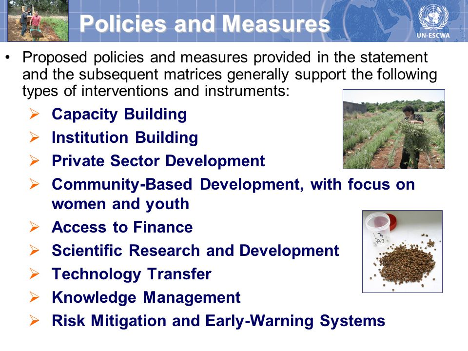 Policies and Measures Capacity Building Institution Building