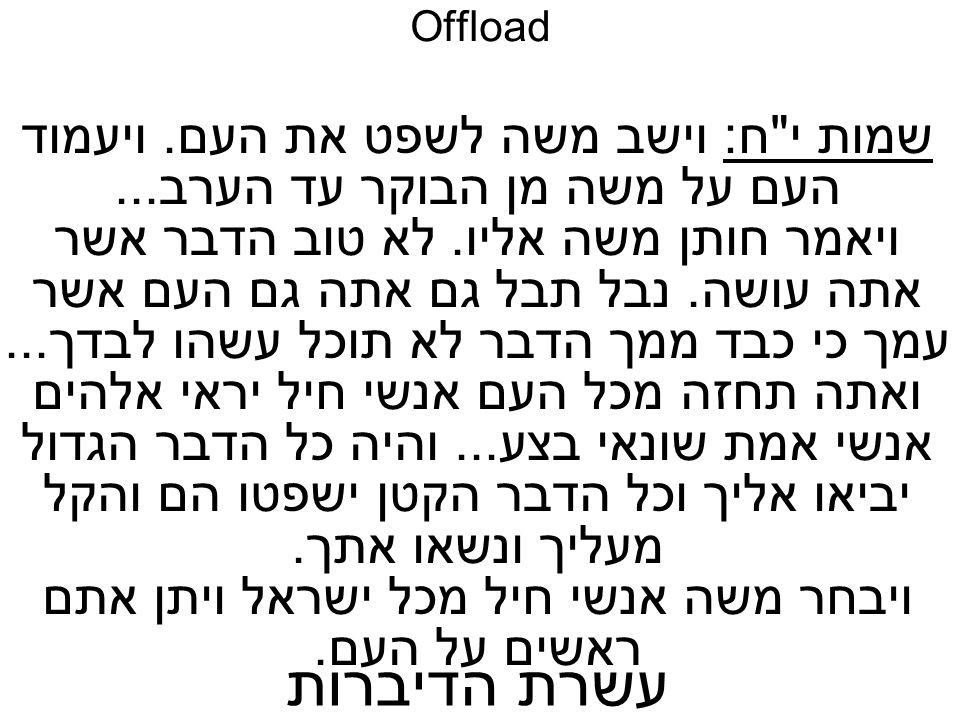 Offload שמות י ח: וישב משה לשפט את העם. ויעמוד העם על משה מן הבוקר עד הערב...