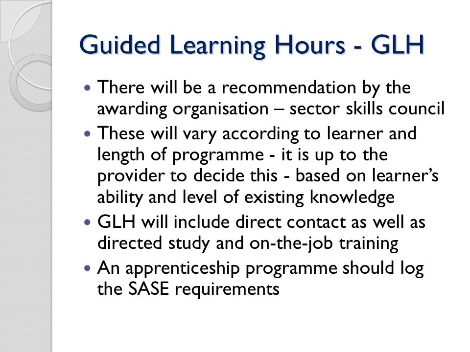 Guided Learning Hours - GLH