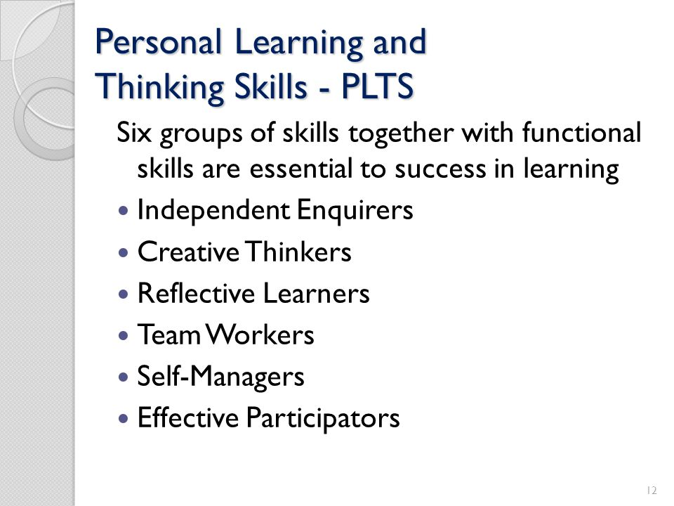 Personal Learning and Thinking Skills - PLTS
