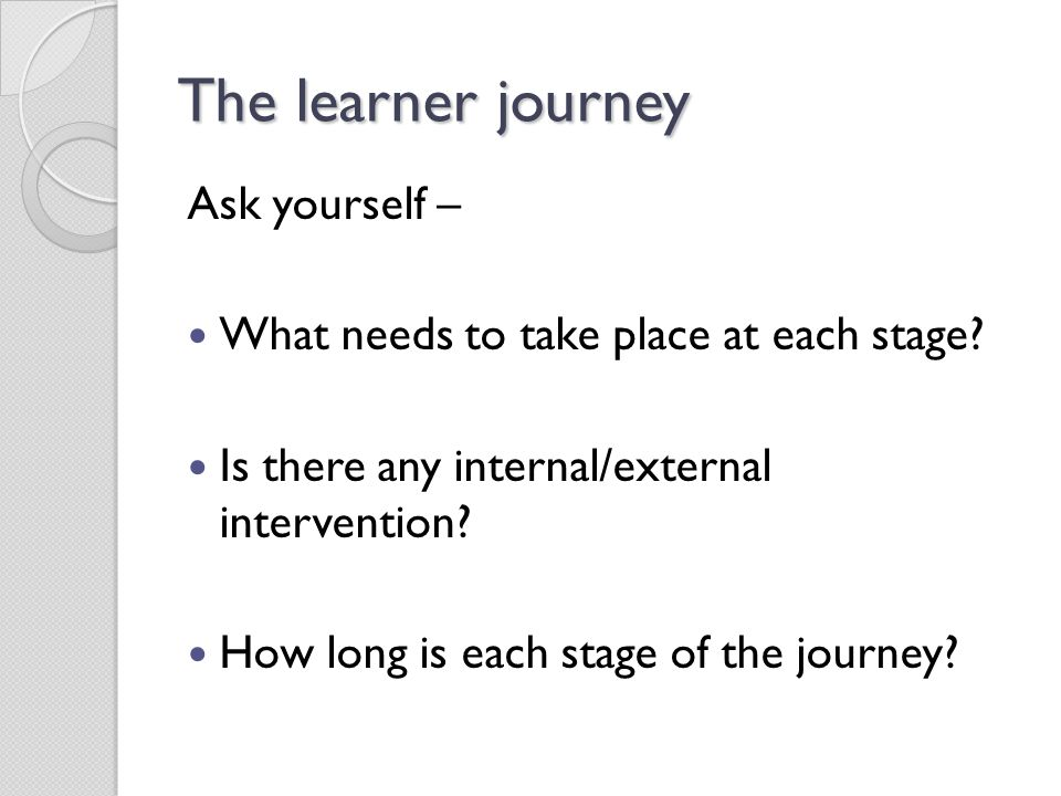 The learner journey Ask yourself –