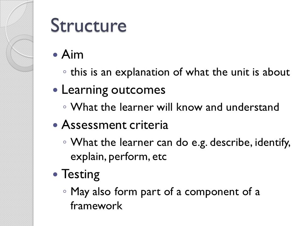 Structure Aim Learning outcomes Assessment criteria Testing