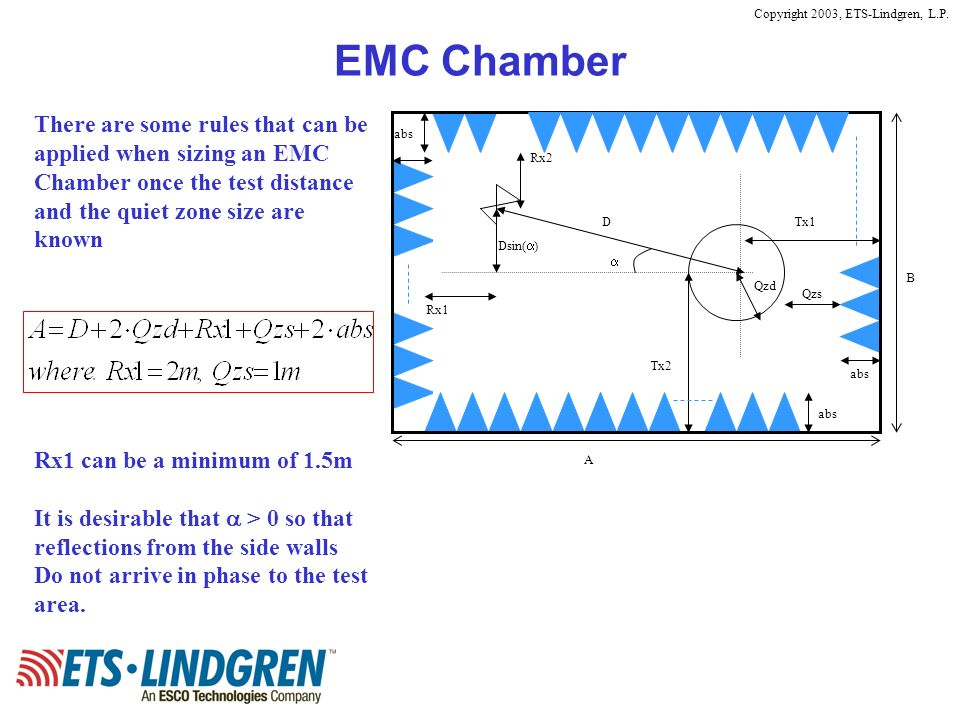 EMC Chamber There are some rules that can be applied when sizing an EMC Chamber once the test distance and the quiet zone size are known.