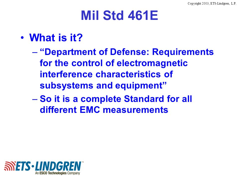 Mil Std 461E What is it