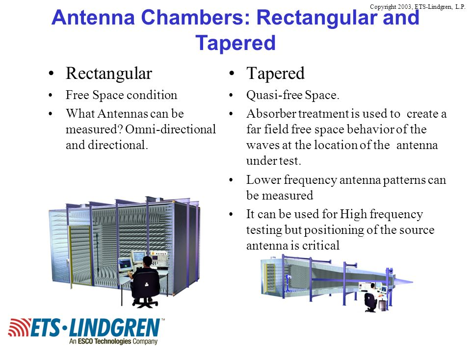 Antenna Chambers: Rectangular and Tapered