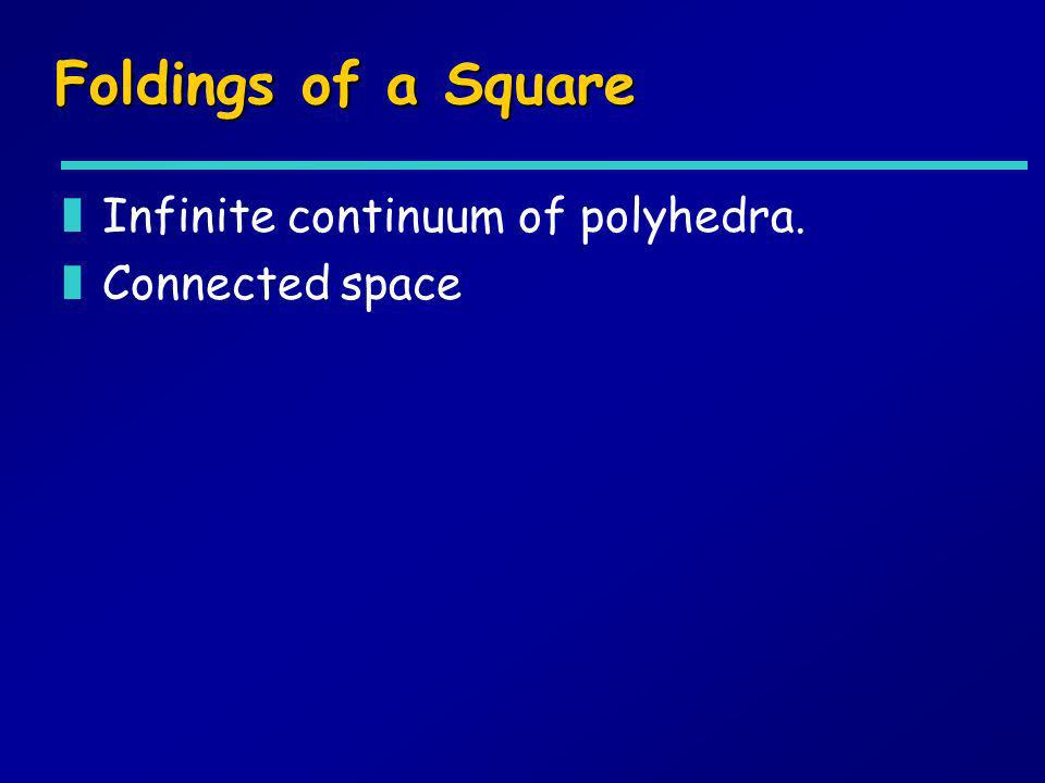 Foldings of a Square Infinite continuum of polyhedra. Connected space