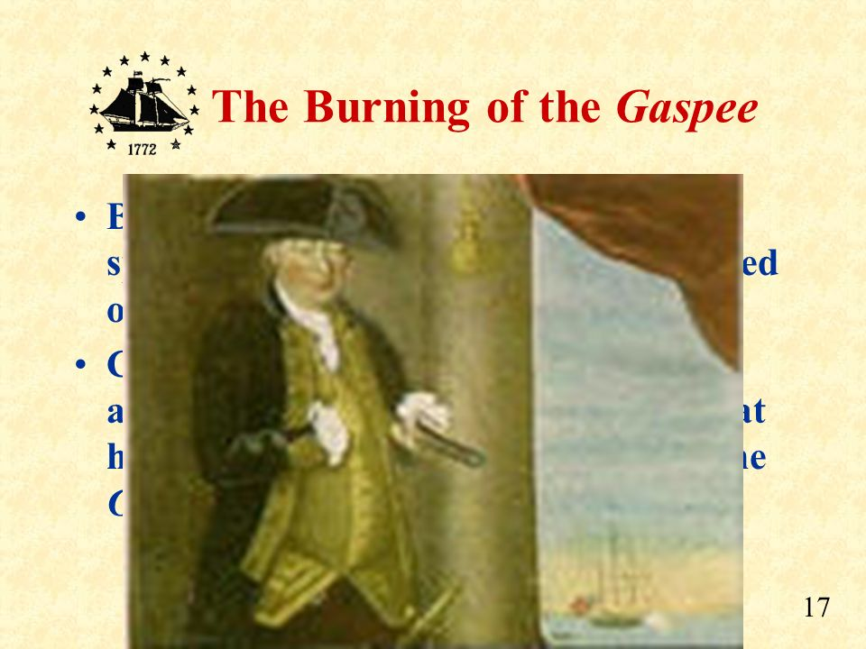 By 1 am, the sentry aboard the Gaspee spotted the approaching boats and called out the alarm.