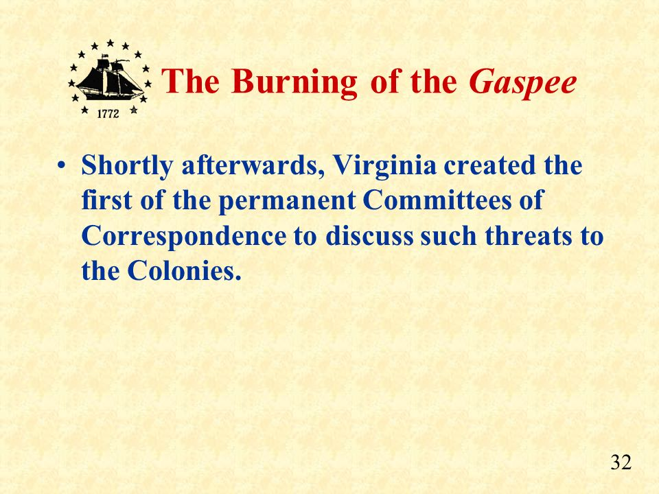 Shortly afterwards, Virginia created the first of the permanent Committees of Correspondence to discuss such threats to the Colonies.