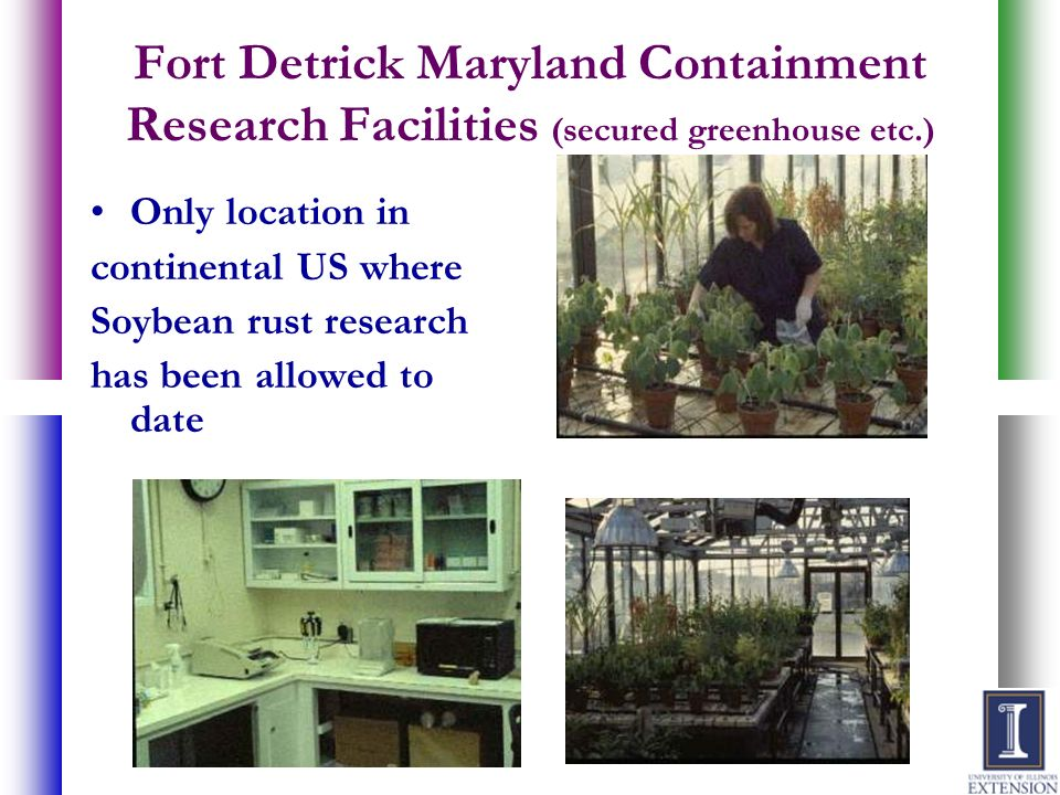 Fort Detrick Maryland Containment Research Facilities (secured greenhouse etc.)